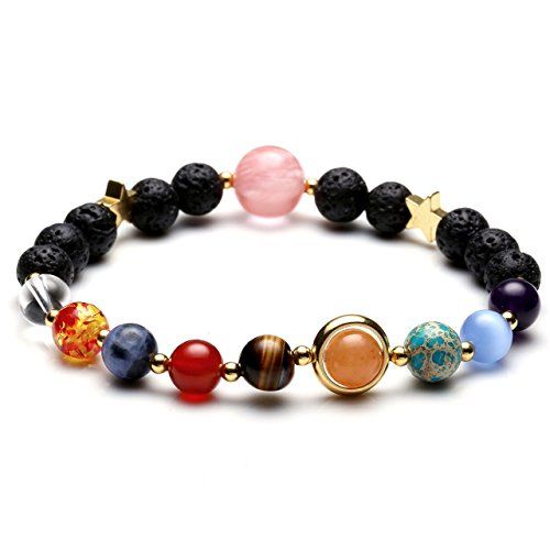 JOVIVI Gioielli - Pulsera del sistema solar del Universo Galaxia, nueve planetas, guardiano, estrella, de piedra natural, pulseras para mujeres y hombres, regalo