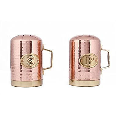 Old Dutch Hammered Copper Salt and Pepper Shaker Set, 4¼