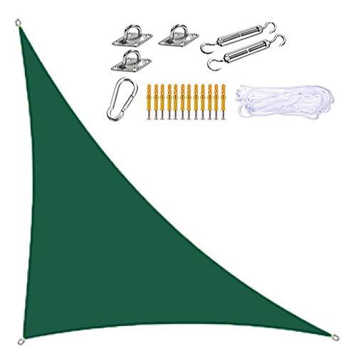 HENGX Sonnensegel,Shade Sails Robust Langlebig,3-7m Dreieck Rechteckig Markisen,Dunkelgrün,300D Sonnenschutz Stoffe,Wasserdichtes,Für Gartenterrasse Pool Camping,3 * 3 * 4.3m