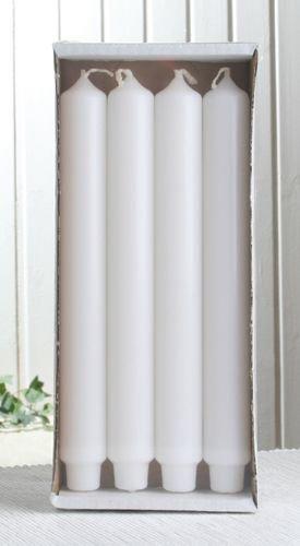 4x Stabkerze mit Zapfenfuß / Punchkerze, 25x3 cm, weiß