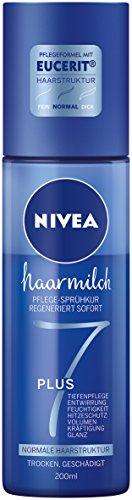 Nivea Haarmilch Pflege-Sprühkur für normale Haarstruktur im 2er Pack (2 x 200 ml), Hitzeschutzspray ohne Mineralöle duftet angenehm, Pflegespray zur Kräftigung und gegen Haarbruch