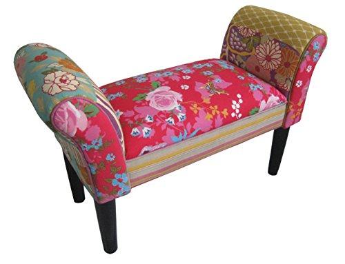 HOWE-Deko Deko Sitz-Bank Design Ruby, Motiv Patchwork, Bezug bunt rot gepolstert, dunkle Holzfüße, mit Armlehne, für Flur und Diele, B75 x H51 x T31 cm