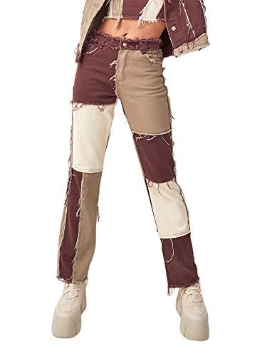 Carolilly Straight Jeans Damen High Waist Hose Patchwork Damen Jogginghose Push Up Farbblock Denim Hose Damen Streetwear (Kaffee, S)