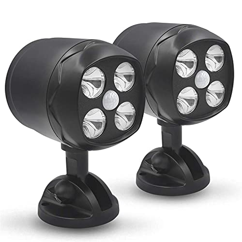 YoungPower LED Motion Sensor Spotlights, Wireless Battery-Operated Outdoor Wall Light 600 Lumen 4 LED Wireless Security Lights Waterproof for Patio Garden Garage Path, 2 Pack