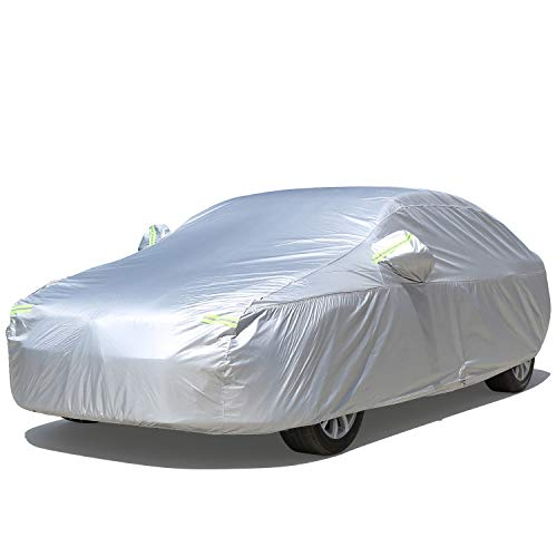 Mieziba Car Cover Waterproof All Weather,6 Layers Car Cover for Automobiles Outdoor Full Cover Sun Hail UV Dust Protection with Zipper,Universal Fit for Sedan (up to 190