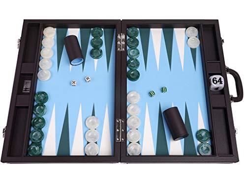 Wycliffe Brothers Backgammon-Set für Turniere, Brauner Koffer mit hellblauem Feld, Masters Edition