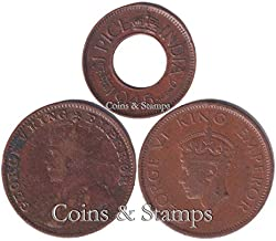 Coins & Stamps British India Coins 3 Different Old Indian Coins Hole Pice Coin, Quarter Anna Coins