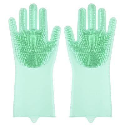 1 par deGuantes de Limpieza para lavavajillas, Guantes mágicos de Goma de Silicona para Lavar Platos para fregadora doméstica,Herramienta de Limpieza de Cocina, fregado-Green
