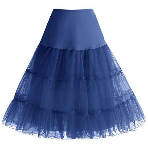 Bbonlinedress Sommerkleid Damen Petticoat schwarz Mini Rock Unterrock Crinoline Underskir Reifrock Navy S