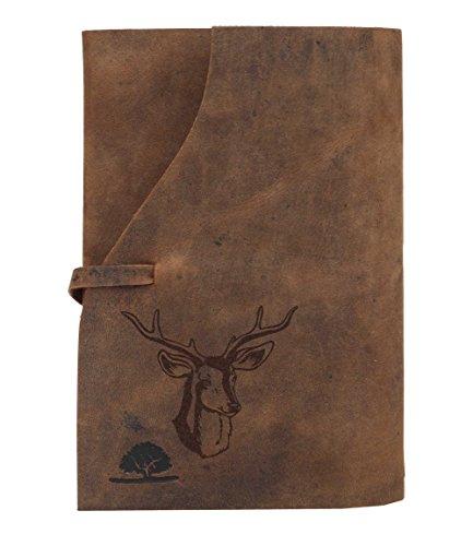Greenburry Leder Notizbuch für Jäger mit Hirsch Motiv - Tagebuch DIN A6-17x12,5x2 cm