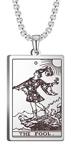 VASSAGO El primer juego de tarjetas en el Tarot Colgante Collares The Major Arcana Tarot Tarjetas de acero inoxidable Joyería