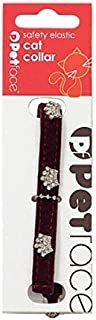 Petface Silver Crown Cat Collar with Safety Elastic, Plum