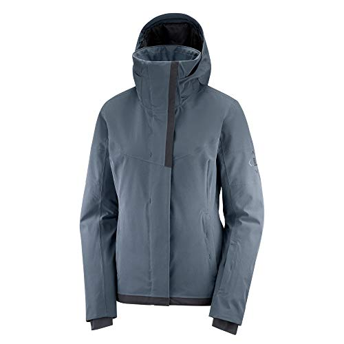 Salomon Damen Ski-Jacke, SPEED JACKET W, Polyamid/Polyester/Elasthan, Grau (Ebony), Größe: L, LC1380100
