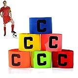 6 Piezas Brazalete De Capitán De Fútbol,Brazalete Deportivo Capitan Multicolor Ajustable Brazalete Elástico Estándar C Banda De Capitán para Jóvenes Adultos Apto para Deportes Fútbol Y Rugby