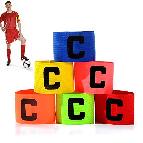 Tadpolez 6 Pezzi Fascia da Capitano da Calcio,Fascia da Capitano Professionale Multicolore Fascia da Braccio Elastica Standard C Regolabili per Bambini E Adulti Adatta A più Sport con La Palla