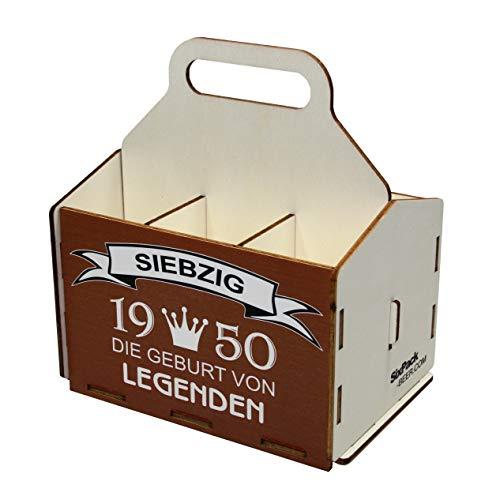 Bierträger aus Holz, Sixpack Bier, 6er Träger, Bier-Sechserträger, Biergeschenk, Geburtstag 70 Jahre, Geburtstagsgeschenk für Männer, 70 Jahre, Gravur, Druck, Holz, 70. Geburtstag, 1950, Vatertag