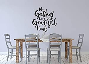 Vinyl Wall Art Decal - We Gather Here with Grateful Hearts - Fall Decoration Thanksgiving Give Thanks Autumn Holiday Famil...