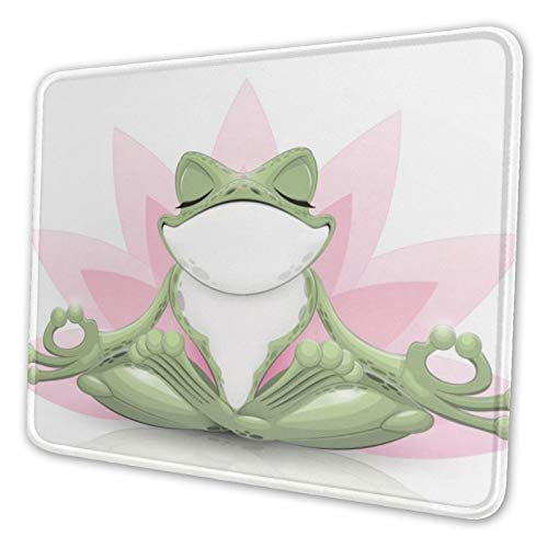 Cute Funny Frog Doing Yoga Mouse Pad with Non-Slip Rubber Base Gaming Mouse Pad with Stitched Edge Mouse Mat for Laptop,Computer & Pc,Office & Home