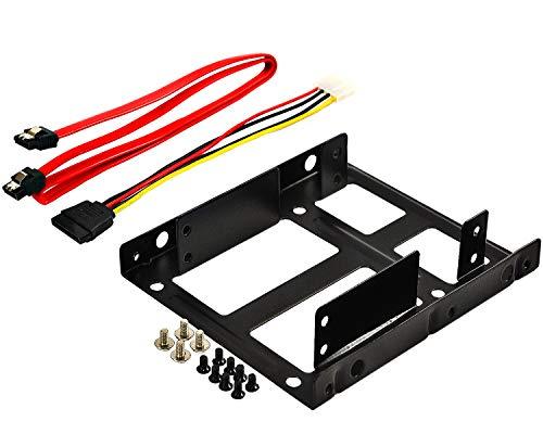 """Rhombutech® Dual Einbaurahmen für 2X 2,5\"""" HDD/SSD\'s auf 3,5\""""; Metall; optimiert für SSD; Adapter Wechselrahmen Mounting Frame Halterung Schienen inkl. Befestigungsschrauben"""