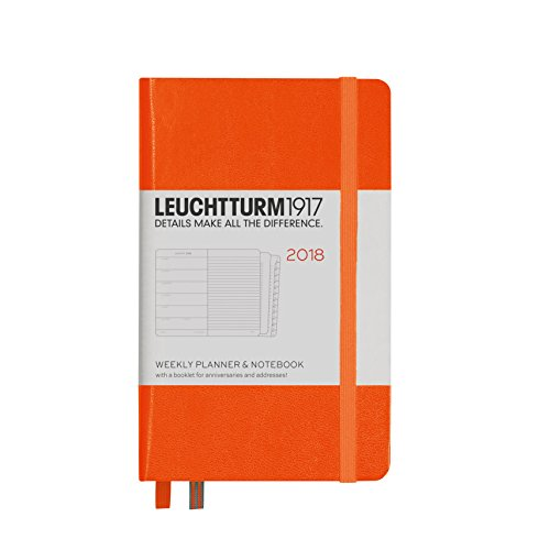 Planificador semanal y cuaderno 2018 Leuchtturm1917, en inglés, color naranja Bolsillo (A6)