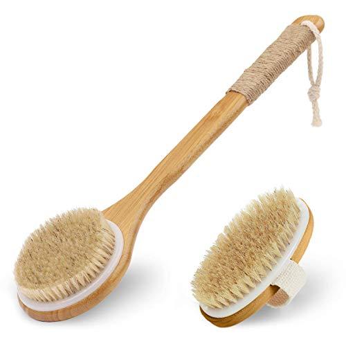 iKALULA Badebürste Rückenbürste, Körperbürste Massagebürste mit Langem Stiel Naturborsten Holz Rückenschrubber Duschbürste für Körper...