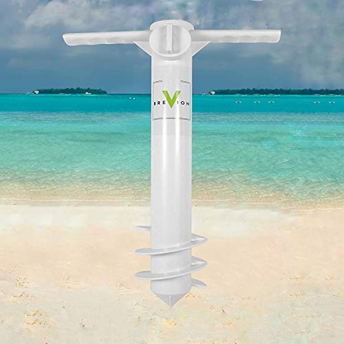 Heavy Duty Beach Sand Umbrella Anchor. Durable, Fits All, up to 1.6 in Poles. White Auger Stand for Strong Winds. Use as a Rod Holder or Net Stake