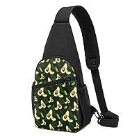 熱帯の葉のアボカドパターンスリングバックパック軽量チェストスリングバッグ因果ファニーパック多目的デイパックトラベルハイキングアウトドアスポーツ用防水チェストパック