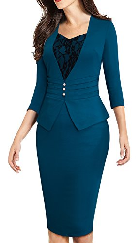 HOMEYEE Women's Elegant Business 3/4 Sleeve Lace Retro Pencil Sheath Dress B361 (12, Teal)