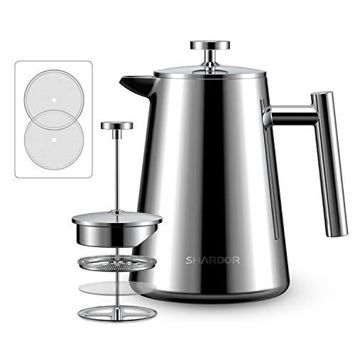 SHARDOR French Press Coffee Tea Maker, Stainless Steel Press Pot, 4 Level Filtration System, Heat Preservation Vacuum Wall, 34oz (1000ml)
