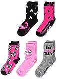 JoJo Siwa girls Jojo Siwa 5 Pack Crew Casual Sock, Black Pink Multi, Shoe Size 3-8 US