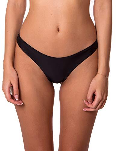 RELLECIGA Damen Bademode Bikinihose Unterteil Brazilian Cut Bottom Schwarz M