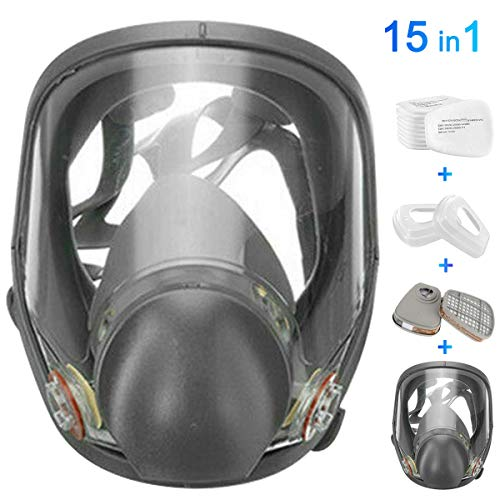 FNWD 15in1 Full Face Large Size Respirator,Full Face Wide Field of View,Widely Used in Organic Gas,Paint spary, Chemical,Woodworking for 6800 Respirator