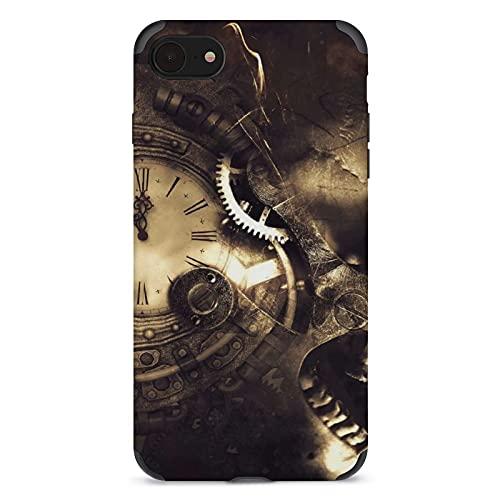 Funda de teléfono con diseño de calavera y reloj Apple Cell Custom Cute Pattern Iphone Accesorios a prueba de golpes Anti-caída Funda de protección para mujeres hombres y adolescentes iPhone 7