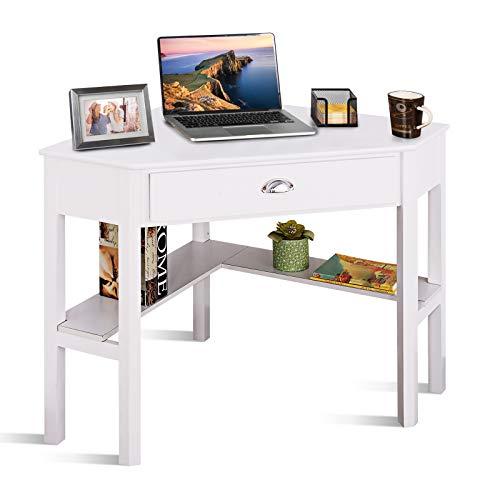 COSTWAY Eckschreibtisch mit Schublade & 2 Ablagen, Computertisch, Schreibtisch, Arbeitstisch fürs Homeoffice, Bürotisch 75 x 75 x 76 cm (Weiß)