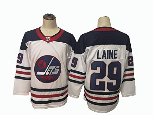 Gmjay Patrik Laine # 29Hockey Jersey Winnipeg Jets Hockey Blau Genähte Buchstaben Zahlen NHL Langarm T-Shirt,White,L
