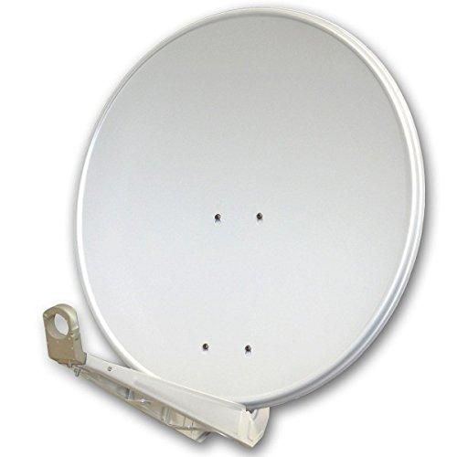 PremiumX DELUXE80 Satellitenschüssel 80 cm Sat Schüssel aus Aluminium in Hellgrau Offset Satelliten Antenne FullHD 3D 4K Ultra HD