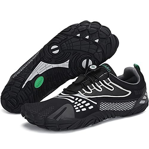 SAGUARO Zapatillas Minimalistas Mujer Zapatillas de Barefoot Hombre Zapatillas de Trail Running Ligera Zapatillas de Deporte Fitness Stil: D Negro Gr.37