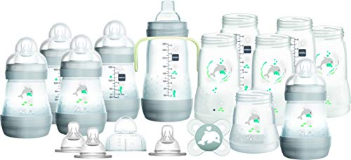 MAM Easy Start Self Sterilising Anti Colic Starter Set, Newborn Bottle Set and Soother, Newborn Essentials, Grey, Large (Designs May Vary)