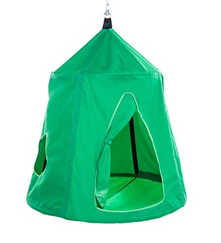 HearthSong Go! Hangout HugglePod Hanging Tent with LED Lights and Go! Hangout Hanger, Sturdy Cotton Canvas, 54' H x 45' W, Holds Up to 250 lbs.- Spring Green