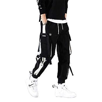 Astellarie Mens Punk Cargo Pants Hip-hop Jogger Patchwork Popular Baggy Teachwear Pants Black
