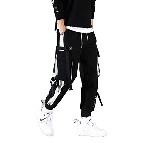 Astellarie Mens Punk Cargo Pants Hip-hop Jogger Patchwork Popular Baggy Teachwear Pants Black
