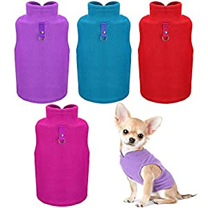 SATINIOR Dog Fleece Vest Dog Cold Weather Pullover Dog Cozy Jacket Winter Dog Clothes Pet Sweater Vest with Leash Ring for Small Dogs