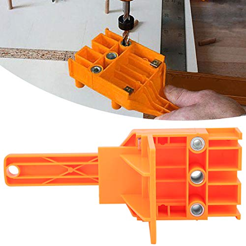 Drill Hole Locator Woodworking Jig Guide Set Carpentry Tool ABS Plastic Punch Hole Locator for 6/8/10mm Drill Bits(Orange)