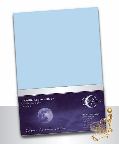 Moon Wasserbett Spannbettlaken XXL Line Silver Übergröße 200x220-220x240 190g/m² Spannbetttuch -hellblau