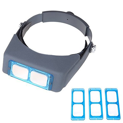 SKYZONAL Double Lens Head-Mounted Headband Reading Magnifier Loupe Head Wearing 4 Magnifications