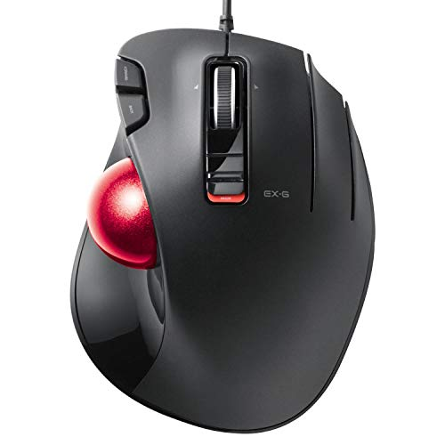 ELECOM-Japan Brand- Trackball Mice Thumb Operated Model, Wired, Ergonomic Design Fit to Hands, High Durability Buttons/Black/M-XT2URBK-G