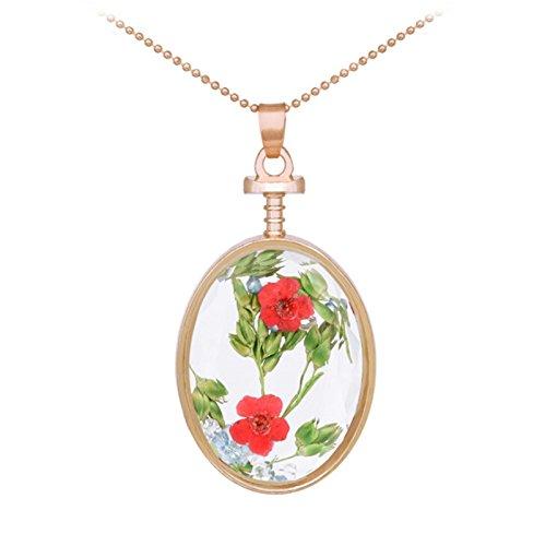 Adisaer Kette Damen Plexiglas Halskette Trockenblumen Grün Blume Transparent Oval Anhänger Getrocknete Blumen Verlobung