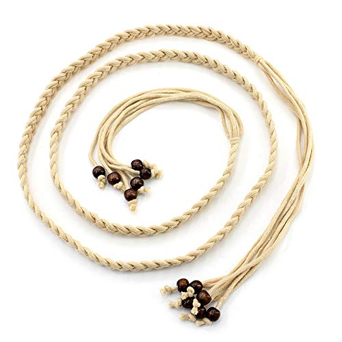 YUANMEI Estilo Étnico Retro Anudado Cintura Cadena Cuentas Cera Cuerda Falda Popular Cinturón Decorativo Corbata Femenina,Beige