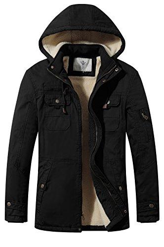 WenVen Men's Winter Warm Jacket Hooded Sherpa Lined Parka Jacket(Black,L)