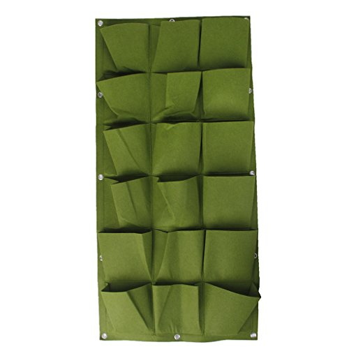 LOVIVER Sac De Jardin Vertical 18-Pocket Green Green Herb Hanging Wall Planter GRN